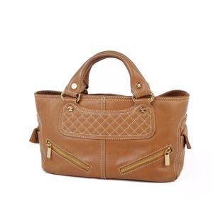 Celine CELINE Leather Italian Handbag Tote Ladies Camel