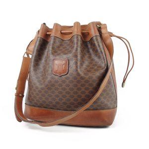 Celine CELINE Macadam pattern drawstring shoulder bag PVC leather made in Italy brown vintage