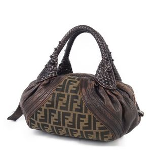 Fendi FENDI Zucca Pattern Leather Canvas Handbag Italy Made Ladies Brown