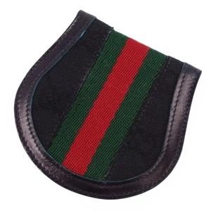Old Gucci GUCCI Italian Made Shelly Line GG Pattern Coin Purse Black Men's Women's Vintage