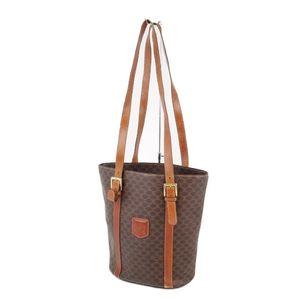 Celine CELINE Macadam pattern PVC leather semi-shoulder bag tote ladies brown