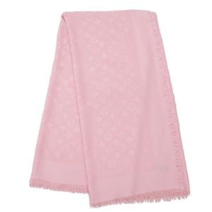 Louis Vuitton LOUIS VUITTON monogram large format shawl stall wool silk pink ladies made in Italy