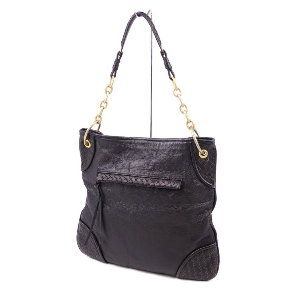 Bottega Veneta BOTTEGA VENETA Intrechart Chain Shoulder Bag Hobo Black Ladies Made in Italy