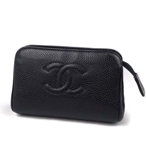 CHANEL French Made Caviar Skin Coco Mark Mini Pouch Makeup Leather Black