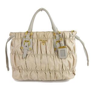 Prada PRADA 2WAY Handbag Shoulder Nylon × Leather Beige BN1792