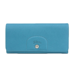 Longchamp 2016 Products Le Preage Cuir Flap Type Leather Long Wallet Blue Coin Purse Unused Card Case x 12