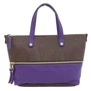 Etro Handbag PVC Handbag Purple Brown