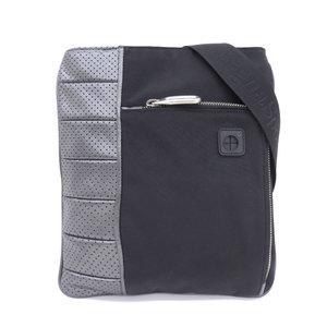 Ermenegildo Zegna Current Logo Leather Nylon Shoulder Bag Black Gray Adjustable Waterproof Inside