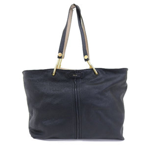 Chloé Chloe CHLOE current tag 2016 product KERI MEDIUM TOTE leather shopping tote bag gold metal fittings black × beige