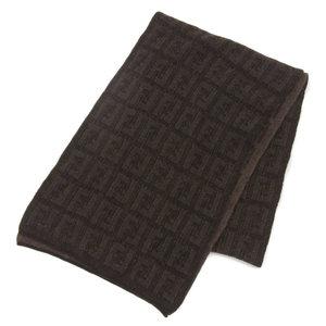 FENDI current logo 100% wool muffler zucca pattern middle gauge brown × black