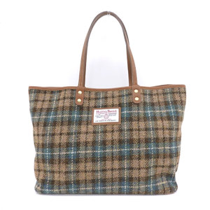 Harris Tweed × Leather Tote Bag Square Logo Brown Green About 1.2 times use