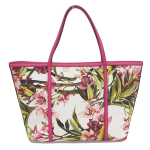 Dolce & Gabbana DOLCE GABBANA 2014 tag with flower print canvas leather tote bag G card