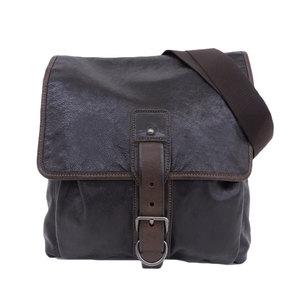 Prada PRADA calf leather flap shoulder bag black men
