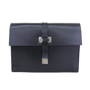 Gucci GUCCI box calf leather with strap second bag 2 room pen stab × 7 card case 5 black silver metal fittings