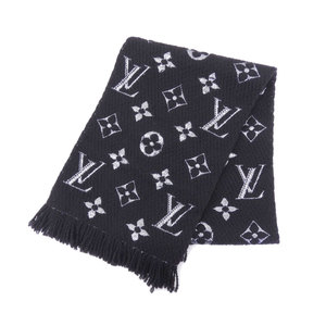 Louis Vuitton Monogram Louis Vuitton LOUIS VUITTON With Box 2018 Product Esharp Monogram Shine LV Flower Pattern Muffler Wool Scarf Black,Silver