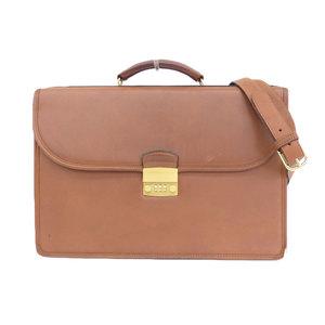 COACH 80's Grab Tan Cowhide Leather 2WAY Briefcase Flap Shoulder Bag Brown Gold Hardware
