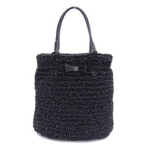 ANTEPRIMA Large Logo Ring Satin Ribbon Cristallo Wire Tote Bag Square Black With Inner Lining