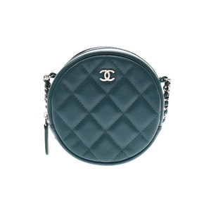 Chanel Matrasse Chain Shoulder Bag Round Type Blue Green Ladies Caviar Skin A Rank Good Condition CHANEL Gala Used Ginzo
