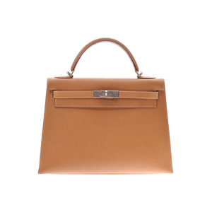 Hermes Kelly 32 Outer stitching Natural SV metal fittings □ E stamp Ladies Chamonix 2WAY handbag B rank HERMES used Ginzo