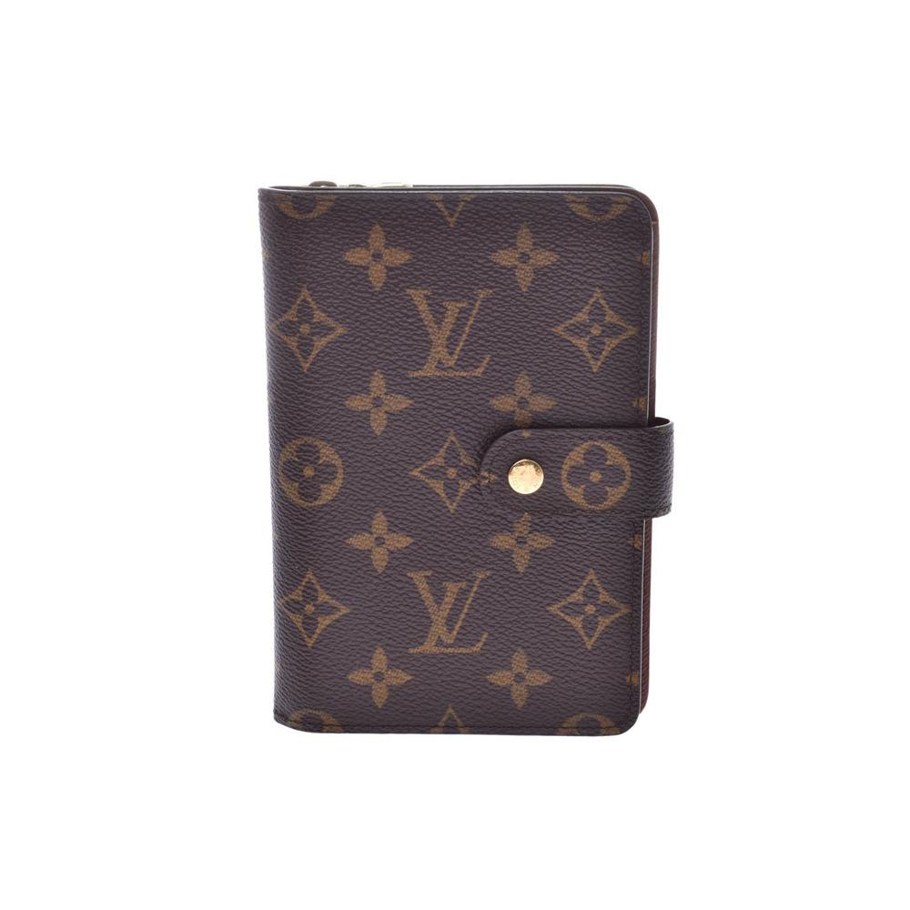 ルイ・ヴィトン(Louis Vuitton) ルイヴィトン モノグラム ポルトパピエジップ ブラウン M61207 レディース メンズ 本革 証明書財布 Aランク LOUIS VUITTON パスケース付 中古 銀蔵