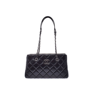 Chanel Matrasse Chain Tote Bag Black Ladies Calf A Rank CHANEL Gala Used Ginzo