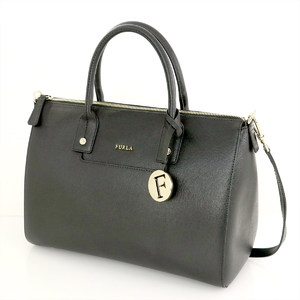 Furla 2WAY Handbag Women's Leather Handbag Black