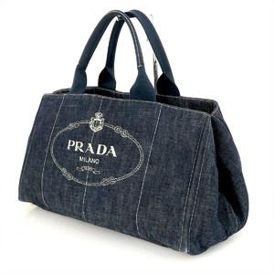 Prada Canapa L Women's Denim Handbag Blue
