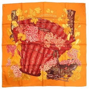 Hermes Women's Silk Scarf Orange