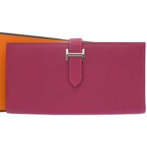Hermes Beansfre Epson Tosca Wallet Silver Hardware □ P Stamp (2012) Purple 0104 HERMES