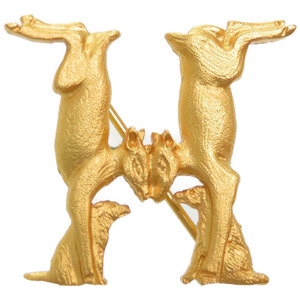 Hermes Animal H Motif Brooch Gold Accessory 0195 HERMES