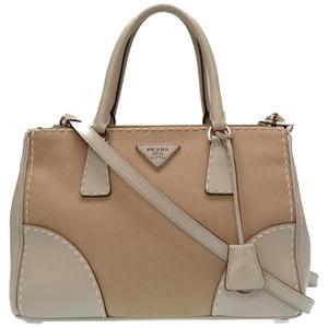 Prada Leather × Canvas Kanapa City B1801K 2way Handbag Gray Beige CORDA GESSO 0227 PRADA