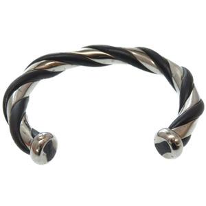 Hermes Bangle Vintage Metal Silver Black 0336 HERMES