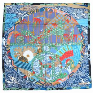 Hermes Carre 90 Matsuzakaya 400th Anniversary Scarf EX LIBRIS EN KIMONOS Kimono Exlivris Silk Blue 0076 HERMES