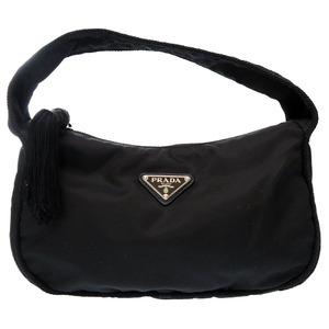 Prada Fringe Nylon Black TESSUTO + PASSAMA 1BA870 Handbag Bag 0097 PRADA