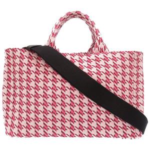Prada kanapa houndstooth canvas pink BN1877 handbag bag 0073 PRADA