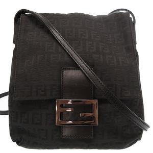 Fendi Zucca Pattern Mamma 8BT075 Shoulder Bag Black 0090 FENDI