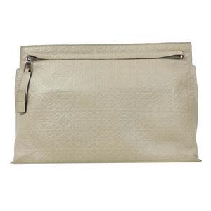 Loewe LOEWE T Pouch Repeat 107.55.K05 Greige Clutch Bag Ladies