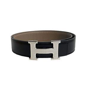Hermes HERMES Constance H Belt Pock Scarf Togo □ M Carved Noir x Etope Silver Hardware 80 Men