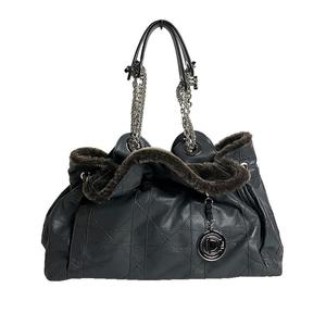 Christian Dior chain tote bag leather faux fur gray x brown ladies