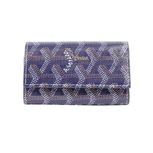 Goyal GOYARD key case 6 series coated canvas leather navy men