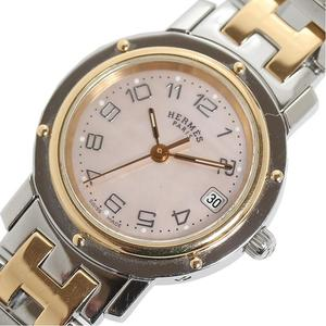 Hermes HERMES clipper nacle combination pink shell quartz ladies watch