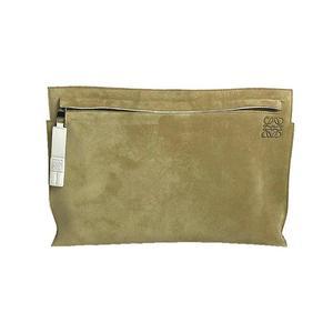 Loewe LOEWE Clutch Bag Suede Leather Beige Men Women Handbag