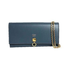 Fendi FENDI Bye Way Chain Wallet 8M0365 Calf Leather Blue Ladies Long