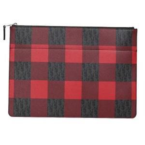Dior Christian Check Pattern Clutch Bag Black x Red Men