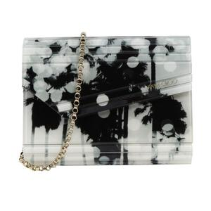 Jimmy Choo JIMMY CHOO CANDY Chain Pochette Acrylic Leather Black x White