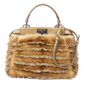 Fendi FENDI Mini Peekaboo 8BN244 Nappa Leather x Fur Fringe Brown Handbag Ladies
