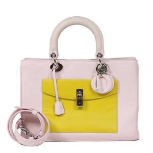 Dior Canage 2WAY Bag Calf Leather Pink Handbag Ladies