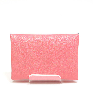 HERMES Hermès card case Calvi Rose lipstick shawl C stamp (made in 2018)