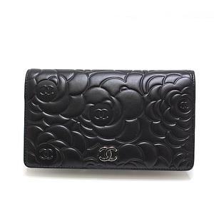 CHANEL Camel Camellia double folded wallet A36544 black (black) lambskin as new