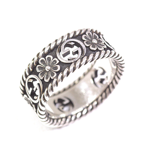 Gucci GUCCI Interlocking G Silver ring Notation size 15 (exact 14) SV925 Ag925 Aging finish Sterling silver flower